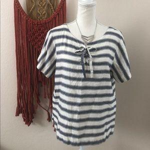 Madewell Stripe Lace-Up Boxy Tee Size M